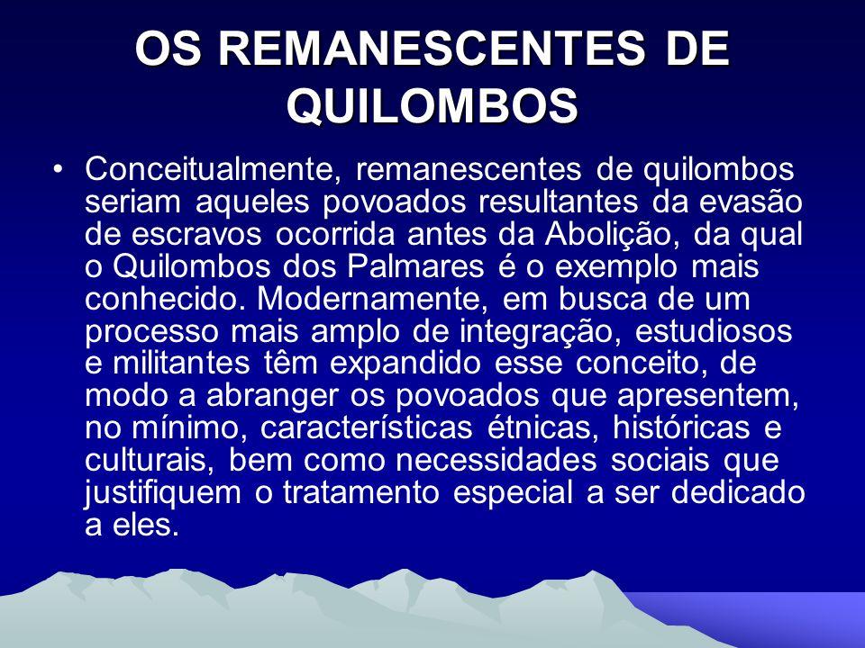 OS REMANESCENTES DE QUILOMBOS Conceitualmente, remanescentes de quilombos seriam aqueles povoados resultantes da evasão de escravos ocorrida antes da