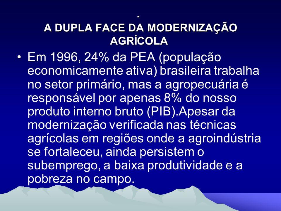 . A DUPLA FACE DA MODERNIZAÇÃO AGRÍCOLA. A DUPLA FACE DA MODERNIZAÇÃO AGRÍCOLA Em 1996, 24% da PEA (população economicamente ativa) brasileira trabalh