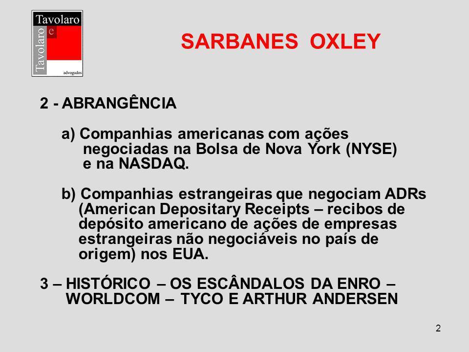 2 SARBANES OXLEY 2 - ABRANGÊNCIA a) Companhias americanas com ações negociadas na Bolsa de Nova York (NYSE) e na NASDAQ. b) Companhias estrangeiras qu