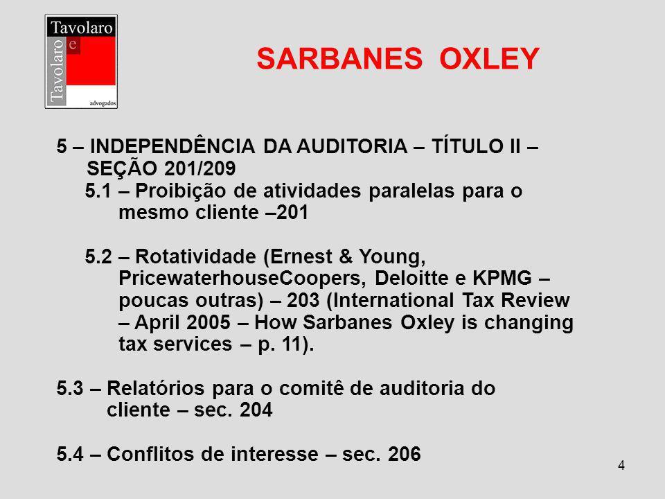 5 SARBANES OXLEY 6 – RESPONSABILIDADES DE DIRETORES, AUDITORES, GERENTES – TÍTULO III – SEC.