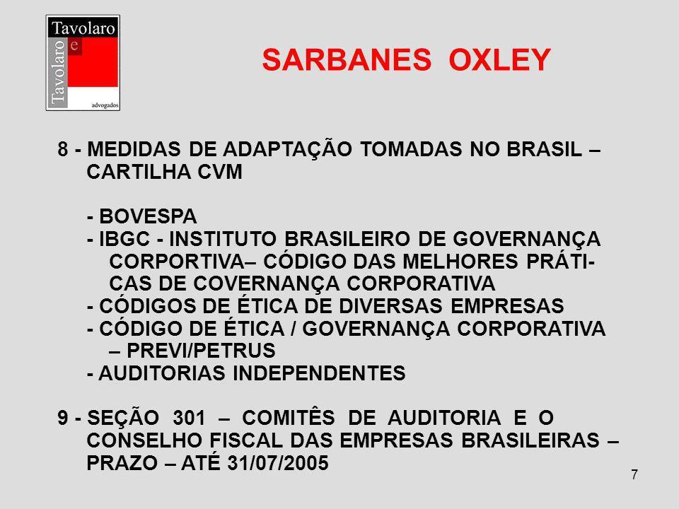 7 SARBANES OXLEY 8 - MEDIDAS DE ADAPTAÇÃO TOMADAS NO BRASIL – CARTILHA CVM - BOVESPA - IBGC - INSTITUTO BRASILEIRO DE GOVERNANÇA CORPORTIVA– CÓDIGO DA