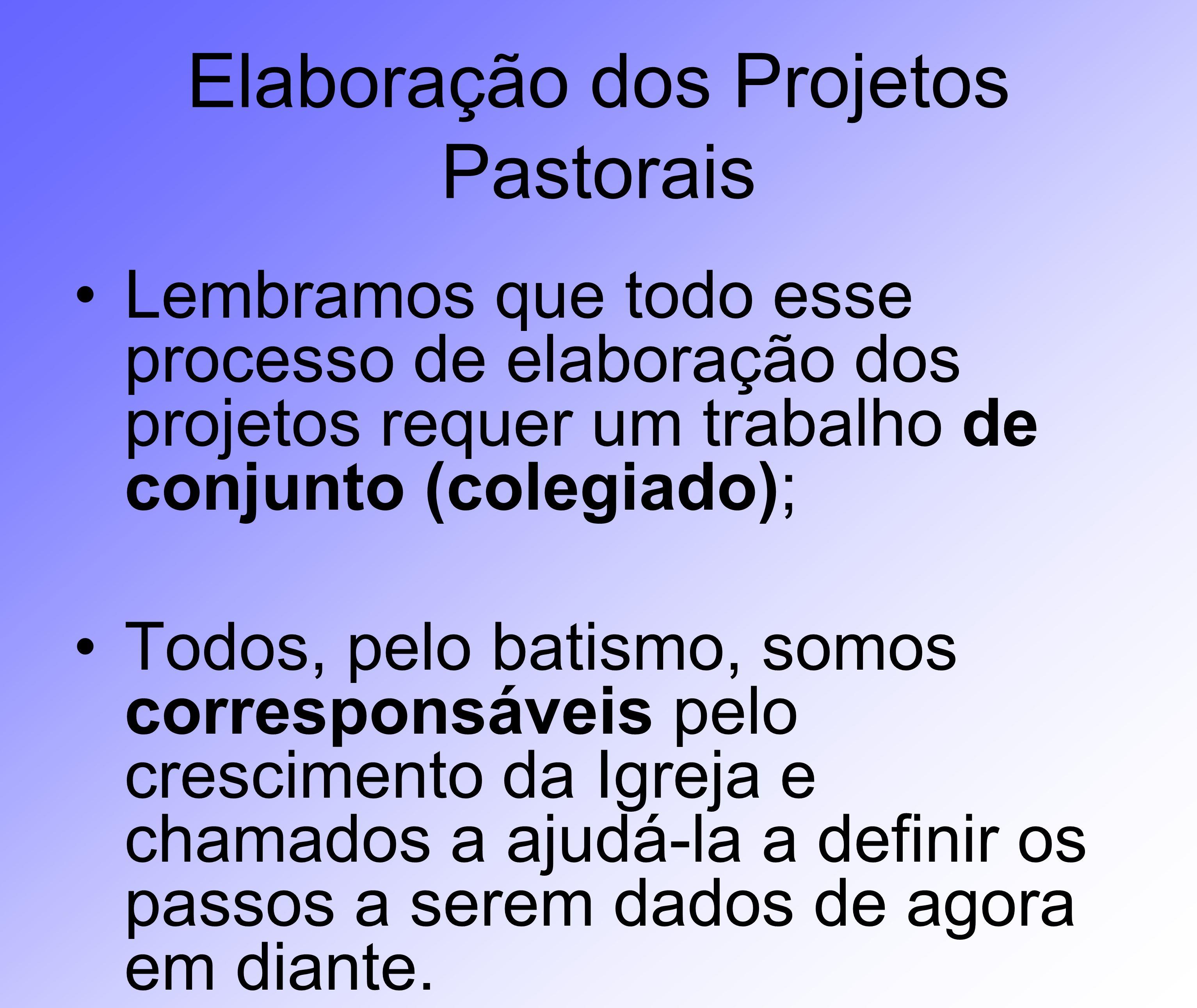 Elaboração dos Projetos Pastorais Lembramos que todo esse processo de elaboração dos projetos requer um trabalho de conjunto (colegiado); Todos, pelo