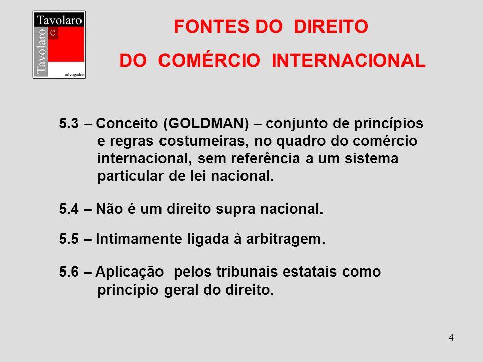 4 FONTES DO DIREITO DO COMÉRCIO INTERNACIONAL 5.3 – Conceito (GOLDMAN) – conjunto de princípios e regras costumeiras, no quadro do comércio internacio