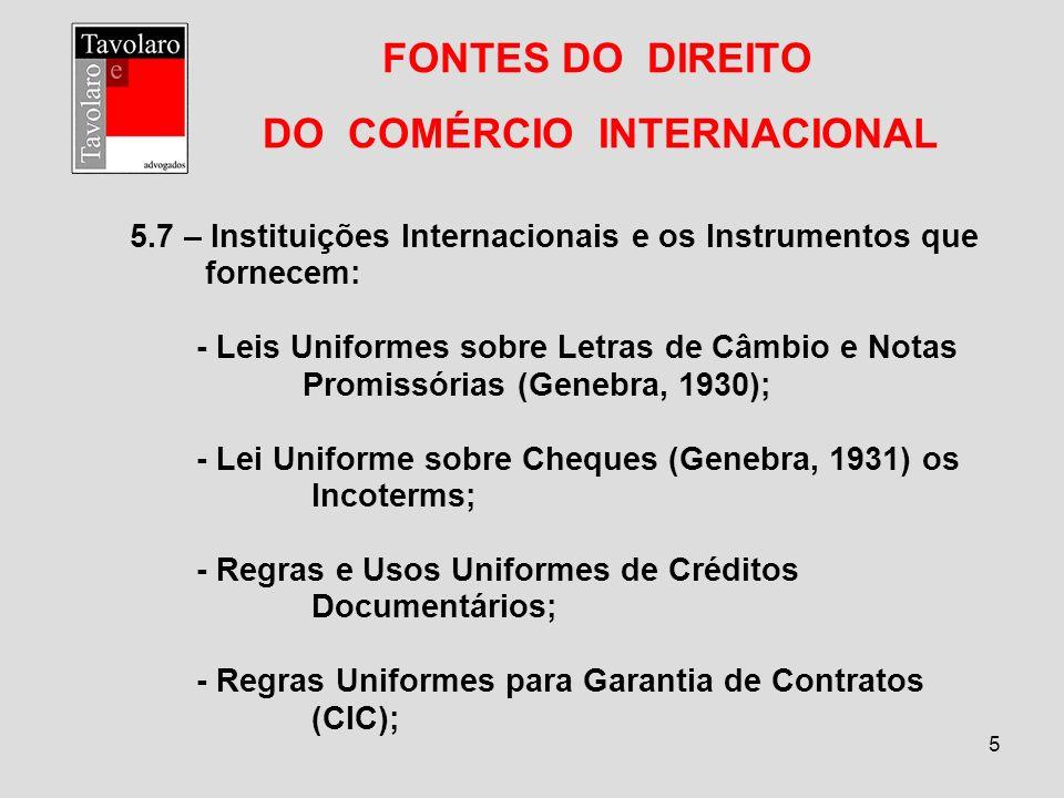 5 FONTES DO DIREITO DO COMÉRCIO INTERNACIONAL 5.7 – Instituições Internacionais e os Instrumentos que fornecem: - Leis Uniformes sobre Letras de Câmbi