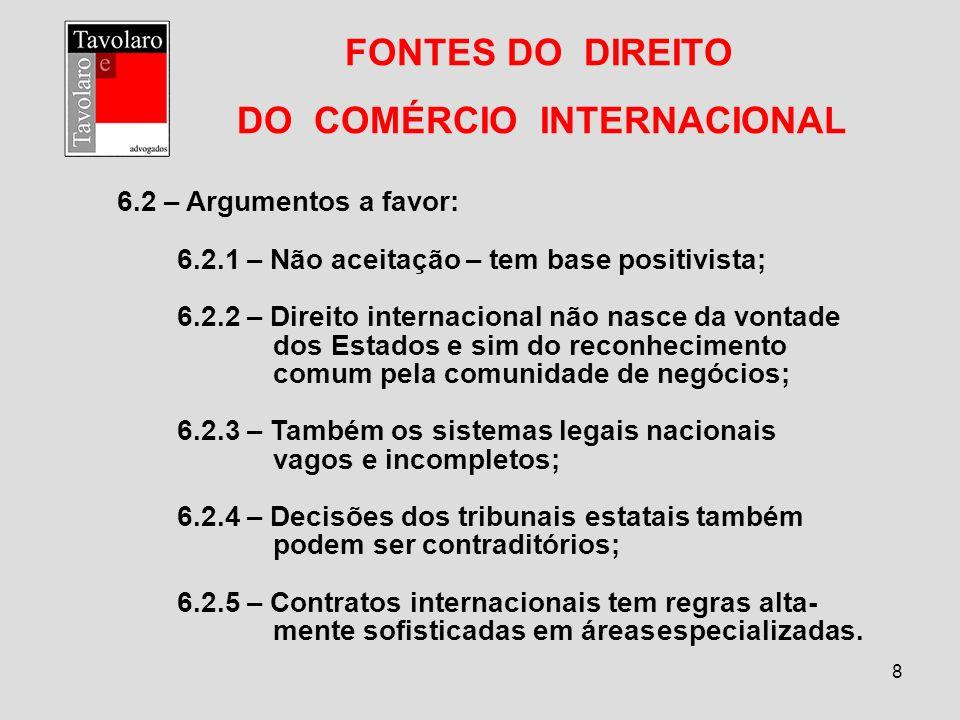 8 FONTES DO DIREITO DO COMÉRCIO INTERNACIONAL 6.2 – Argumentos a favor: 6.2.1 – Não aceitação – tem base positivista; 6.2.2 – Direito internacional nã