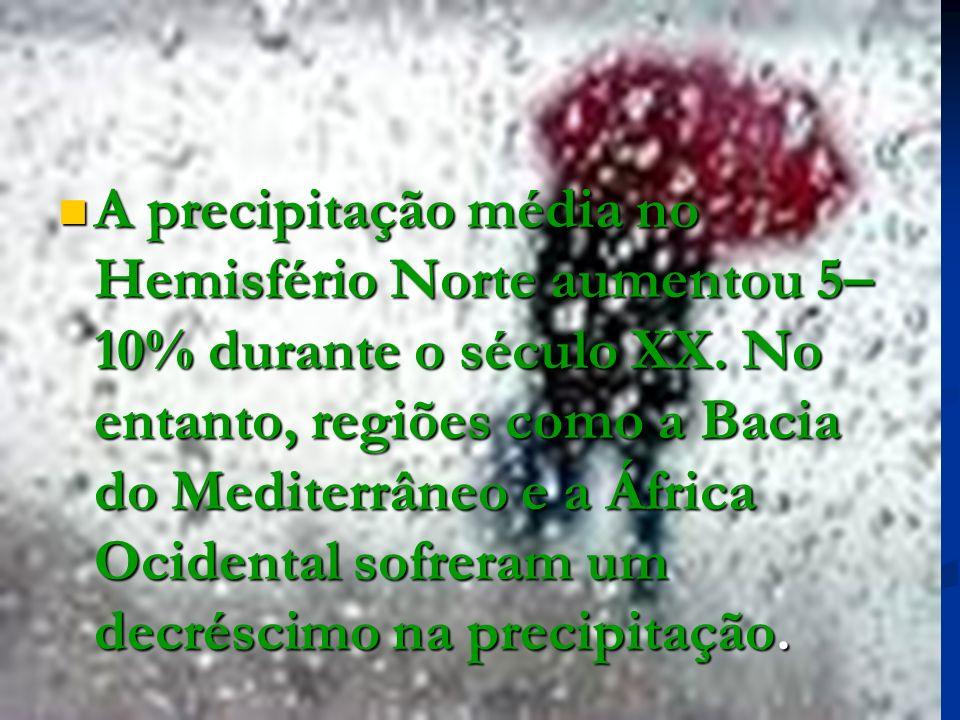 A precipitação média no Hemisfério Norte aumentou 5– 10% durante o século XX. No entanto, regiões como a Bacia do Mediterrâneo e a África Ocidental so