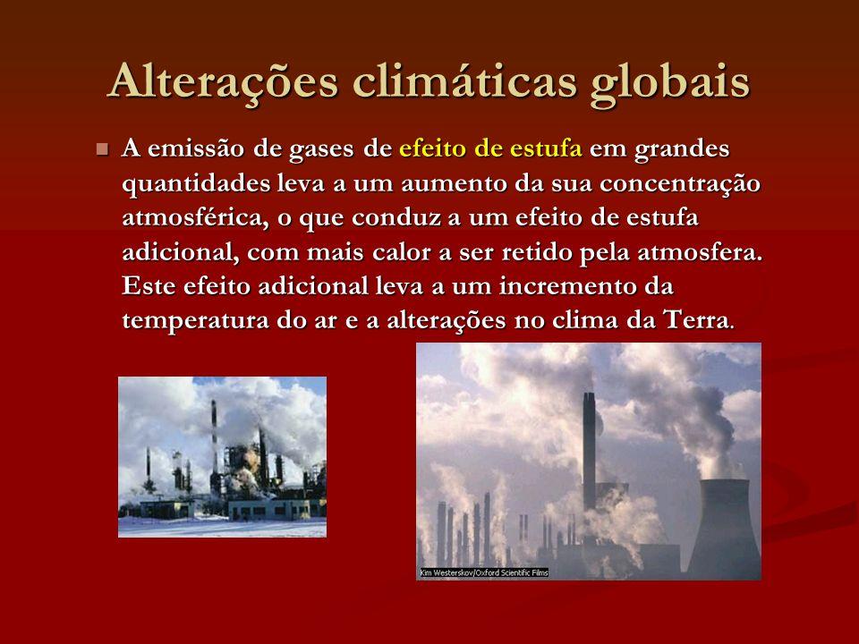 Alterações climáticas globais A emissão de gases de efeito de estufa em grandes quantidades leva a um aumento da sua concentração atmosférica, o que conduz a um efeito de estufa adicional, com mais calor a ser retido pela atmosfera.