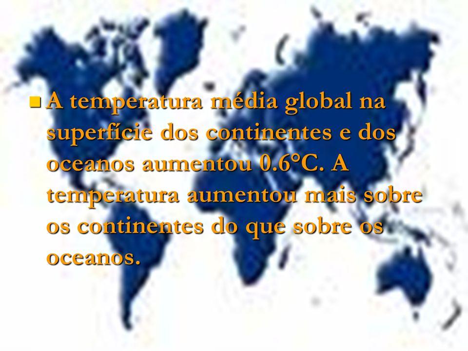 A temperatura média global na superfície dos continentes e dos oceanos aumentou 0.6°C. A temperatura aumentou mais sobre os continentes do que sobre o
