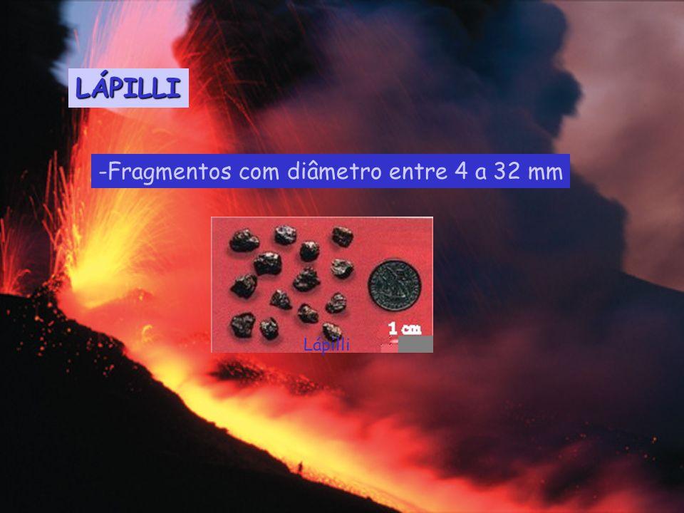 LÁPILLI -Fragmentos com diâmetro entre 4 a 32 mm Lápilli