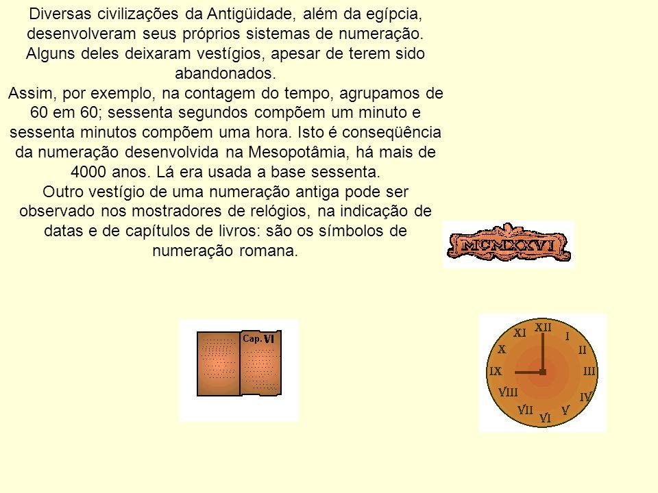 Diversas civilizações da Antigüidade, além da egípcia, desenvolveram seus próprios sistemas de numeração. Alguns deles deixaram vestígios, apesar de t