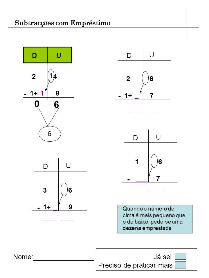 Subtracções com Empréstimo D U - 2 4 1+ 8 6 1 0 6 D U D U D U Nome:________________ Já sei Preciso de praticar mais 1 - 2 6 1+ 7 _ - 1 6 7 ___ - 3 6 1