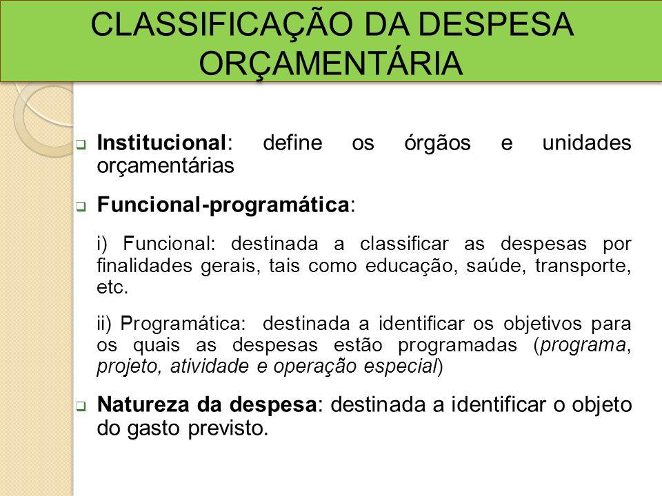 CLASSIFICAÇÃO DA DESPESA ORÇAMENTÁRIA Institucional: define os órgãos e unidades orçamentárias Funcional-programática: i) Funcional: destinada a class