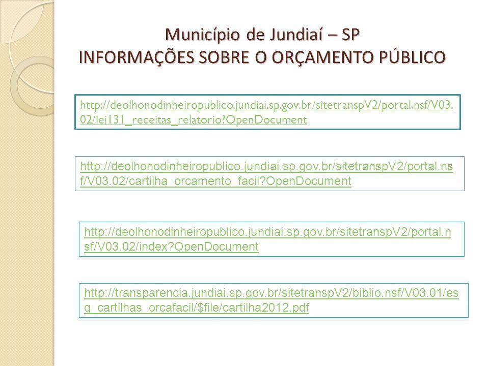 Município de Jundiaí – SP INFORMAÇÕES SOBRE O ORÇAMENTO PÚBLICO http://deolhonodinheiropublico.jundiai.sp.gov.br/sitetranspV2/portal.n sf/V03.02/index