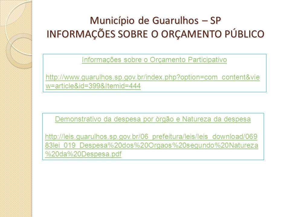Município de Guarulhos – SP INFORMAÇÕES SOBRE O ORÇAMENTO PÚBLICO Informações sobre o Orçamento Participativo http://www.guarulhos.sp.gov.br/index.php