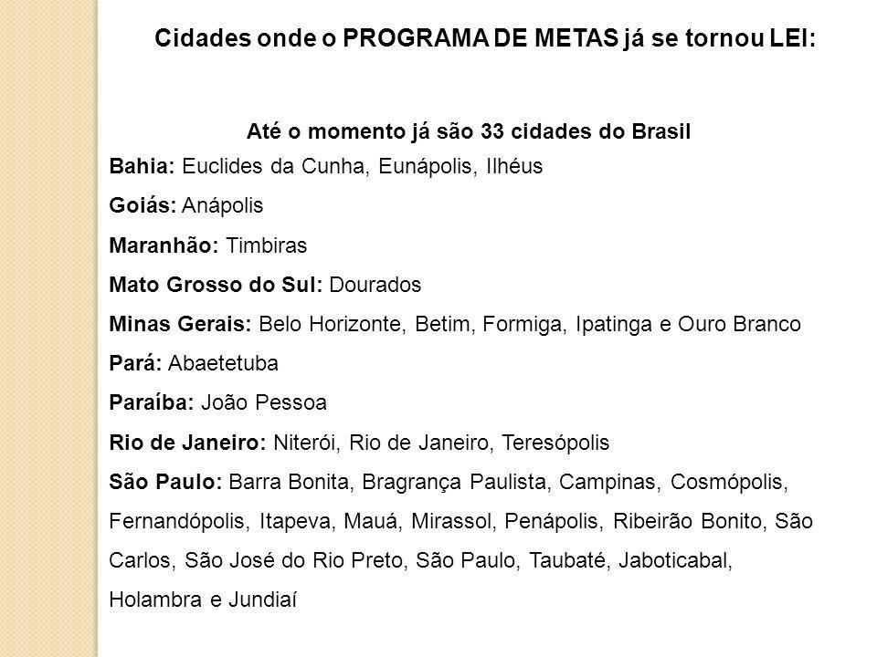 Até o momento já são 33 cidades do Brasil Bahia: Euclides da Cunha, Eunápolis, Ilhéus Goiás: Anápolis Maranhão: Timbiras Mato Grosso do Sul: Dourados