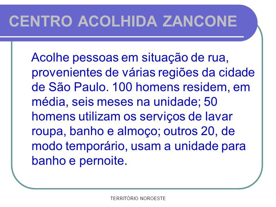 TERRITÓRIO NOROESTE CENTRO ACOLHIDA ZANCONE Acolhe pessoas em situação de rua, provenientes de várias regiões da cidade de São Paulo. 100 homens resid