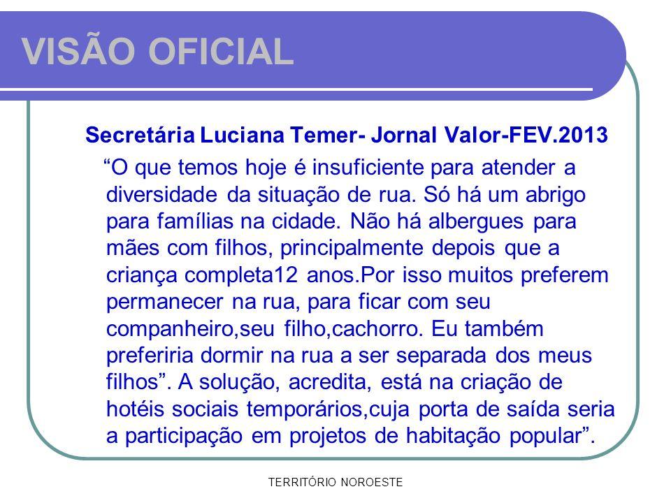 TERRITÓRIO NOROESTE VISÃO OFICIAL Secretária Luciana Temer- Jornal Valor-FEV.2013 O que temos hoje é insuficiente para atender a diversidade da situaç