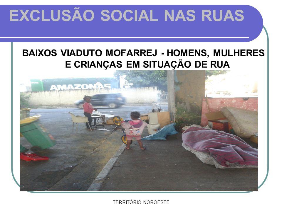 TERRITÓRIO NOROESTE EXCLUSÃO SOCIAL NAS RUAS BAIXOS VIADUTO MOFARREJ - HOMENS, MULHERES E CRIANÇAS EM SITUAÇÃO DE RUA