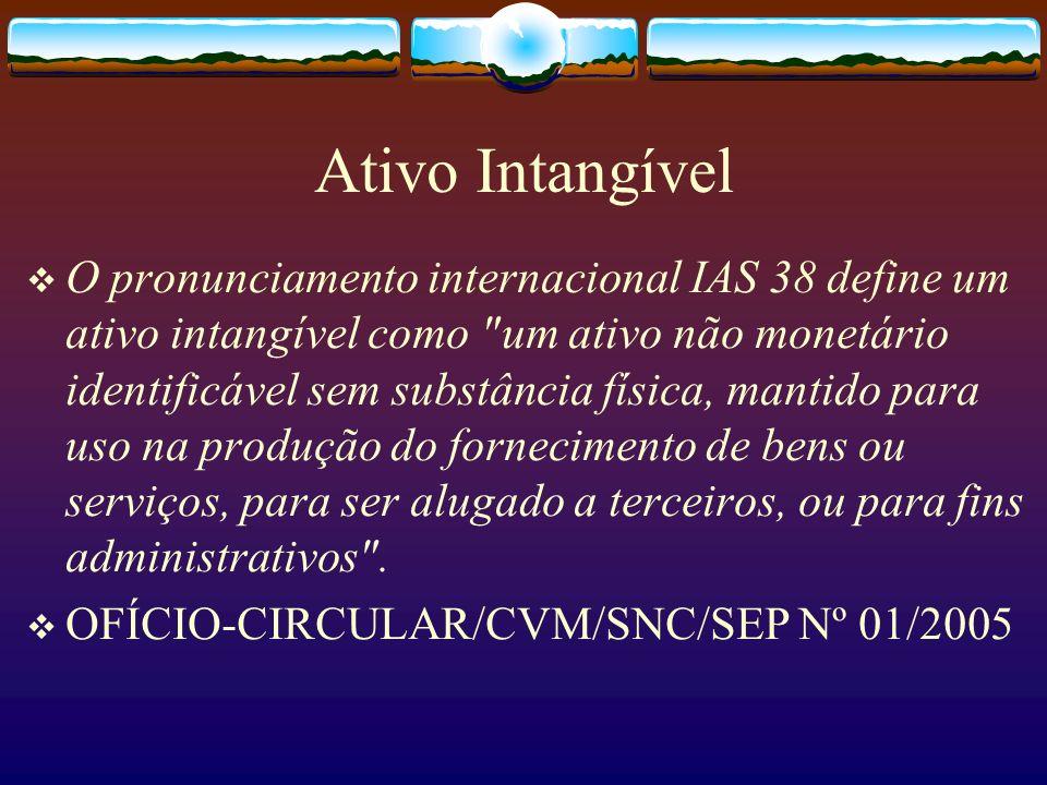 Ativo Intangível O pronunciamento internacional IAS 38 define um ativo intangível como um ativo não monetário identificável sem substância física, mantido para uso na produção do fornecimento de bens ou serviços, para ser alugado a terceiros, ou para fins administrativos .