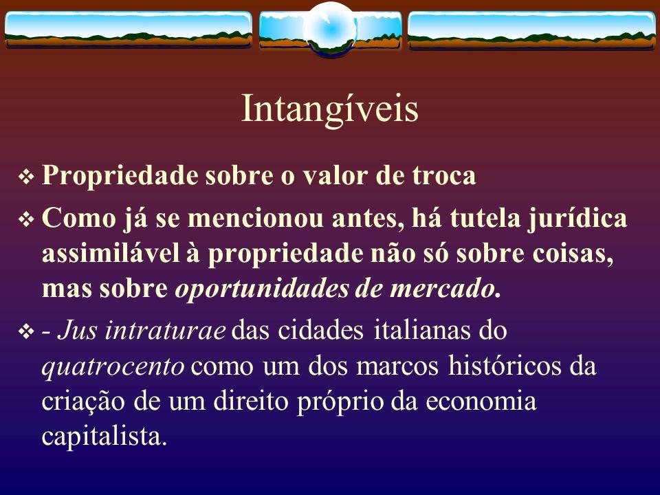 Intangíveis Propriedade sobre o valor de troca Como já se mencionou antes, há tutela jurídica assimilável à propriedade não só sobre coisas, mas sobre oportunidades de mercado.