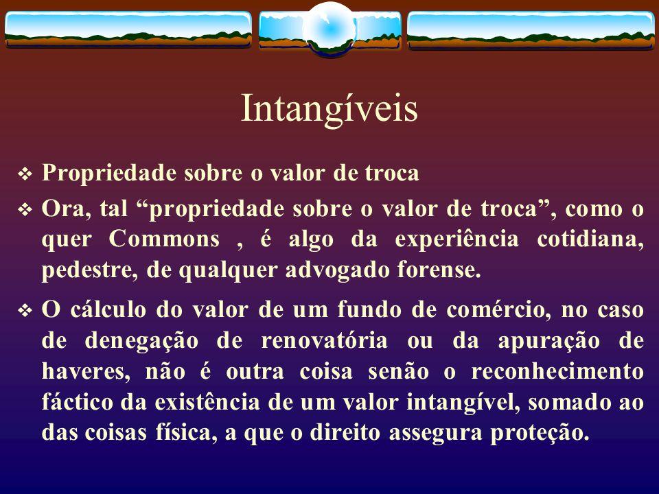 Intangíveis Propriedade sobre o valor de troca Ora, tal propriedade sobre o valor de troca, como o quer Commons, é algo da experiência cotidiana, pedestre, de qualquer advogado forense.