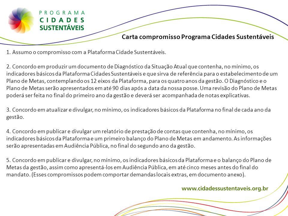 1. Assumo o compromisso com a Plataforma Cidade Sustentáveis. 2. Concordo em produzir um documento de Diagnóstico da Situação Atual que contenha, no m