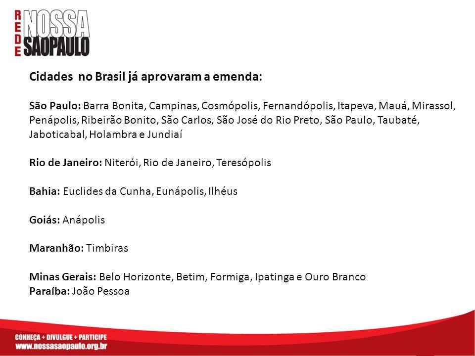 Cidades no Brasil já aprovaram a emenda: São Paulo: Barra Bonita, Campinas, Cosmópolis, Fernandópolis, Itapeva, Mauá, Mirassol, Penápolis, Ribeirão Bo