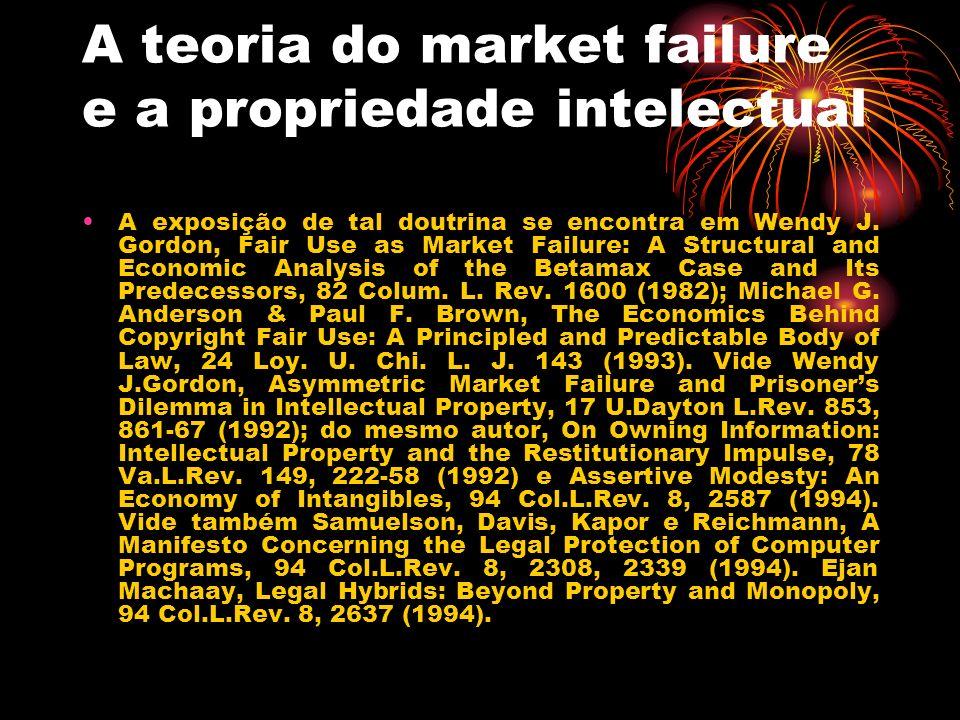A teoria do market failure e a propriedade intelectual A exposição de tal doutrina se encontra em Wendy J. Gordon, Fair Use as Market Failure: A Struc