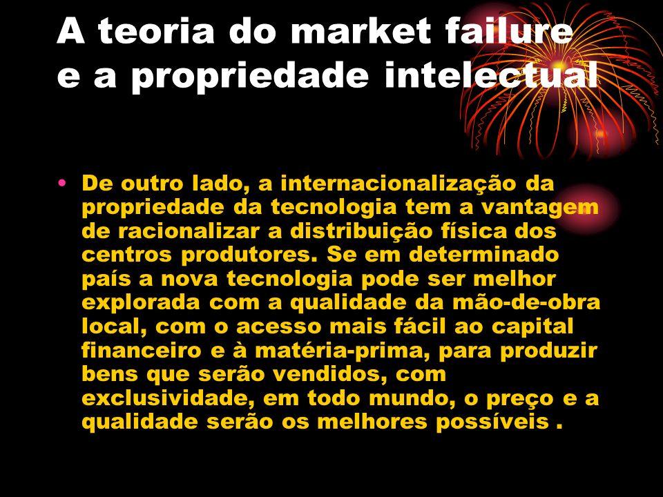 A teoria do market failure e a propriedade intelectual De outro lado, a internacionalização da propriedade da tecnologia tem a vantagem de racionaliza
