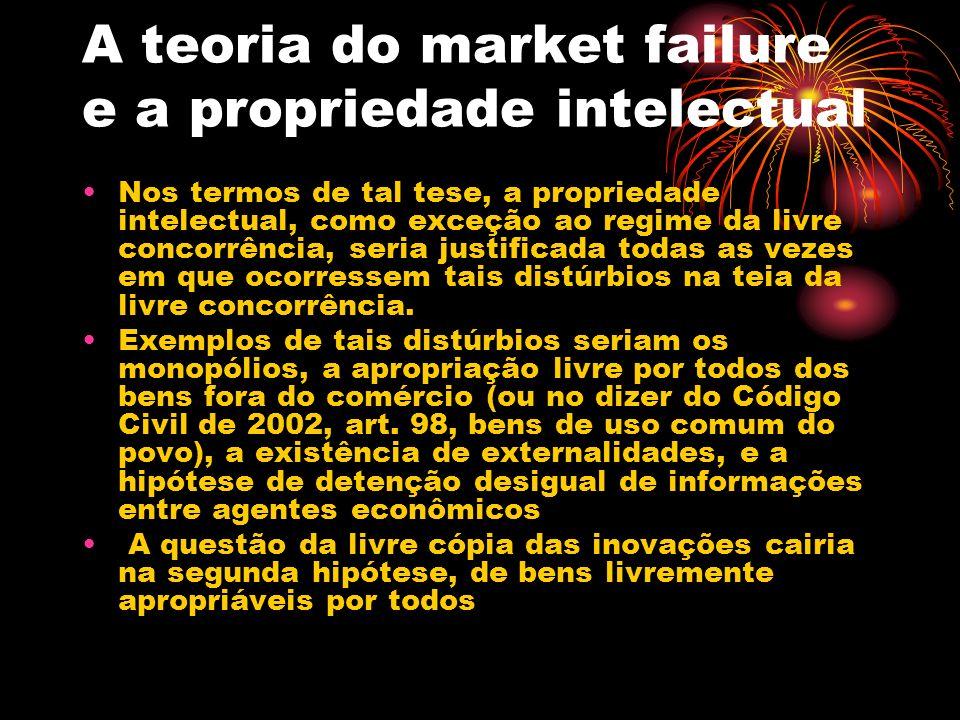 A teoria do market failure e a propriedade intelectual Nos termos de tal tese, a propriedade intelectual, como exceção ao regime da livre concorrência