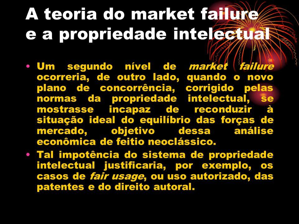 A teoria do market failure e a propriedade intelectual Um segundo nível de market failure ocorreria, de outro lado, quando o novo plano de concorrênci
