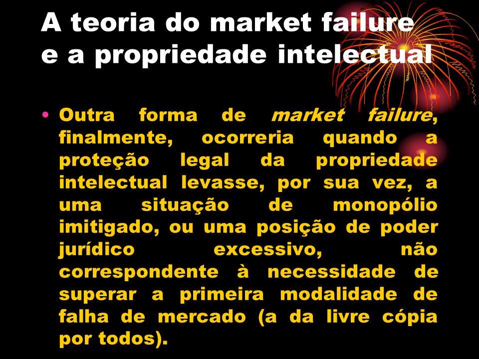 A teoria do market failure e a propriedade intelectual Outra forma de market failure, finalmente, ocorreria quando a proteção legal da propriedade int
