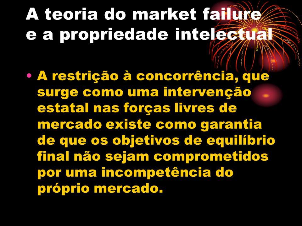 A teoria do market failure e a propriedade intelectual A restrição à concorrência, que surge como uma intervenção estatal nas forças livres de mercado