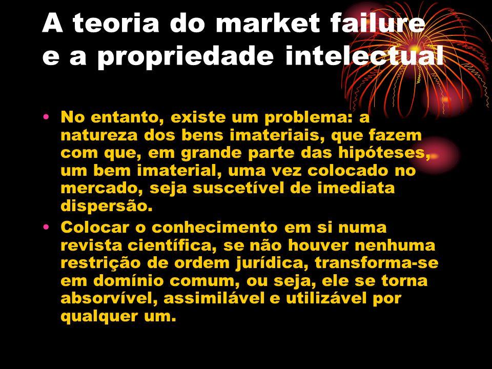 A teoria do market failure e a propriedade intelectual No entanto, existe um problema: a natureza dos bens imateriais, que fazem com que, em grande pa