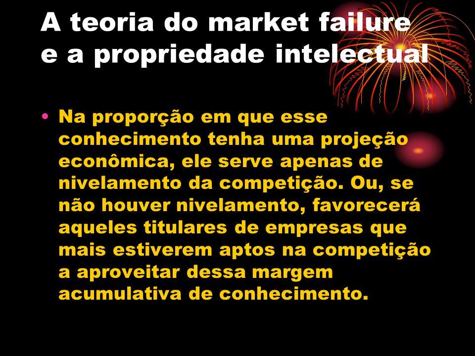 A teoria do market failure e a propriedade intelectual Nos termos de tal tese, a propriedade intelectual, como exceção ao regime da livre concorrência, seria justificada todas as vezes em que ocorressem tais distúrbios na teia da livre concorrência.