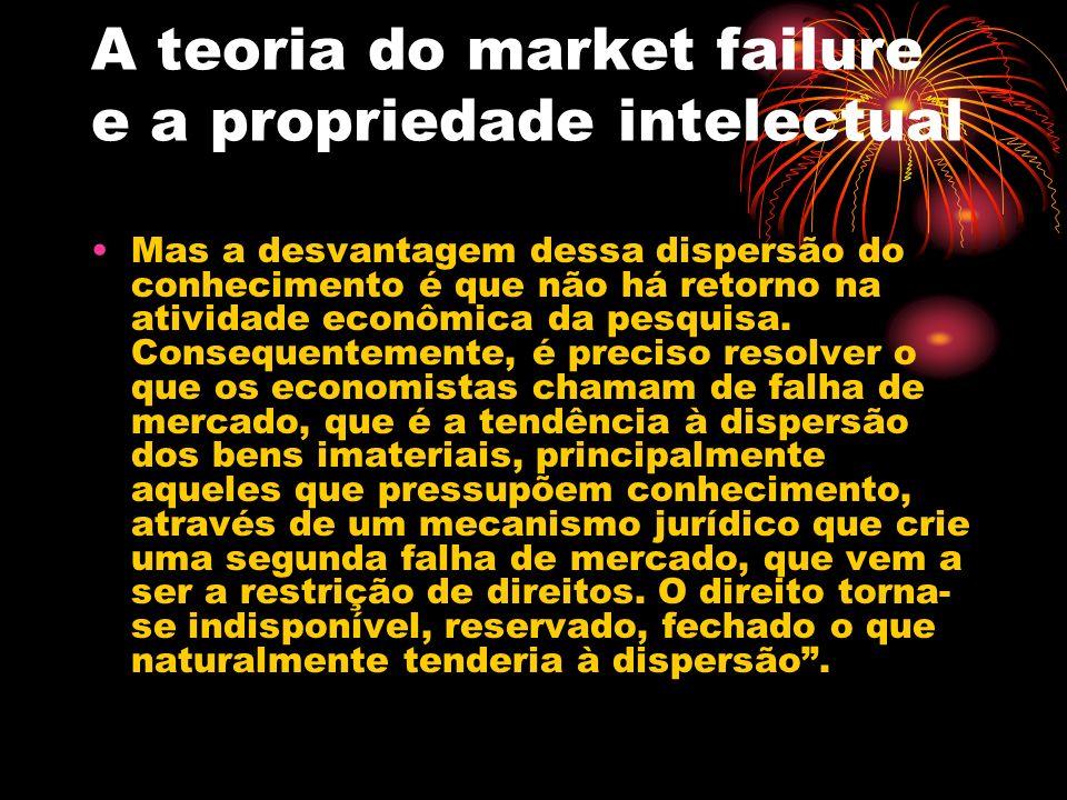 A teoria do market failure e a propriedade intelectual Uma patente, por exemplo, é uma exclusividade temporária, assegurada pelo Estado, para garantir o retorno do investimento o qual, pelas forças normais do mercado, seria erodido pela livre cópia.