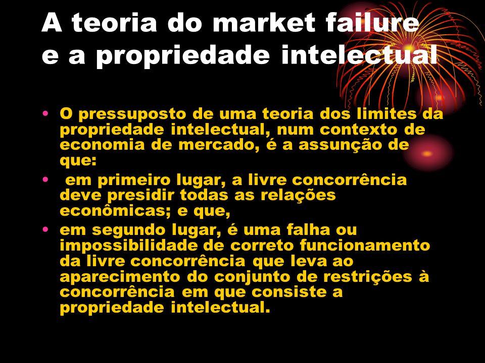 A teoria do market failure e a propriedade intelectual Assim, se um agente do mercado investe num desenvolvimento de uma certa tecnologia, e esta, por suas características, importa em alto custo de desenvolvimento e facilidade de cópia, o mercado é insuficiente para garantir que se mantenha um fluxo de investimento.