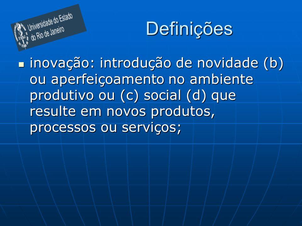 Definições inovação: introdução de novidade (b) ou aperfeiçoamento no ambiente produtivo ou (c) social (d) que resulte em novos produtos, processos ou