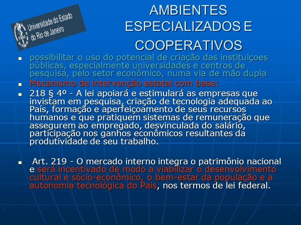 AMBIENTES ESPECIALIZADOS E COOPERATIVOS possibilitar o uso do potencial de criação das instituiçoes públicas, especialmente universidades e centros de