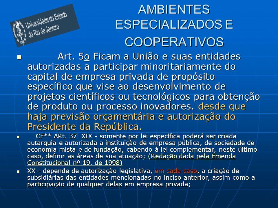 AMBIENTES ESPECIALIZADOS E COOPERATIVOS Art. 5o Ficam a União e suas entidades autorizadas a participar minoritariamente do capital de empresa privada
