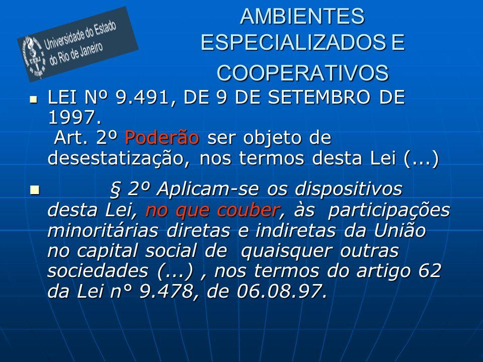 AMBIENTES ESPECIALIZADOS E COOPERATIVOS LEI Nº 9.491, DE 9 DE SETEMBRO DE 1997. Art. 2º Poderão ser objeto de desestatização, nos termos desta Lei (..