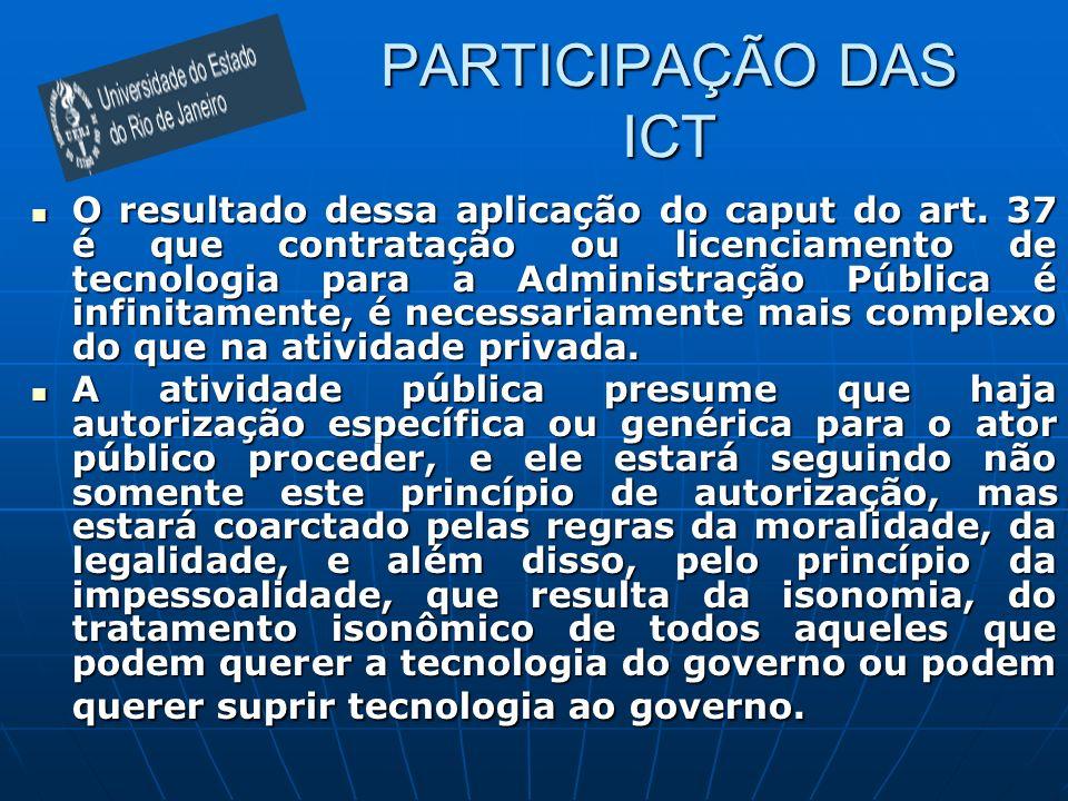 PARTICIPAÇÃO DAS ICT O resultado dessa aplicação do caput do art. 37 é que contratação ou licenciamento de tecnologia para a Administração Pública é i