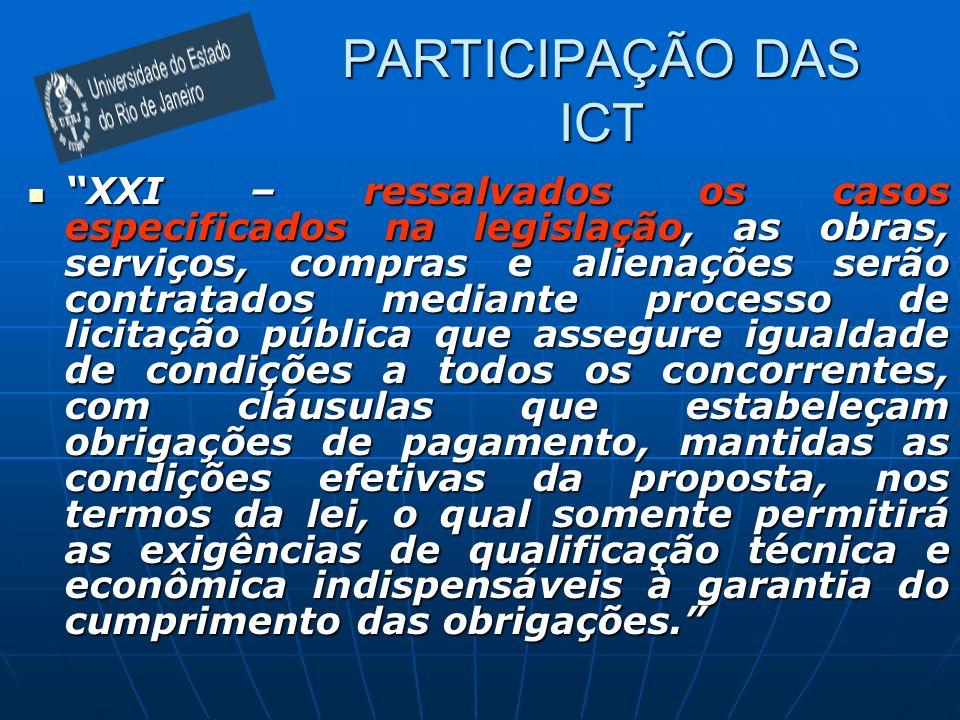 PARTICIPAÇÃO DAS ICT XXI – ressalvados os casos especificados na legislação, as obras, serviços, compras e alienações serão contratados mediante proce