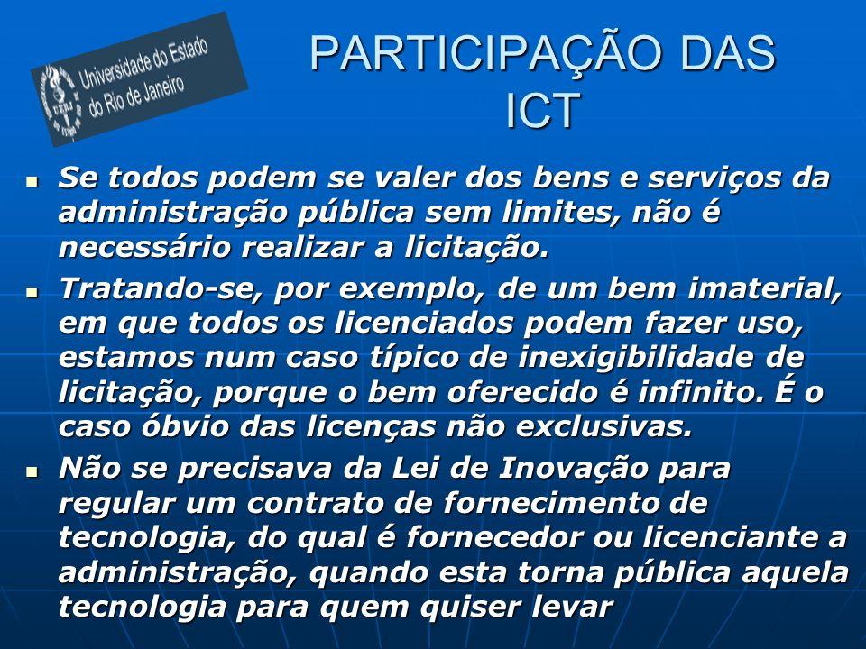 PARTICIPAÇÃO DAS ICT Se todos podem se valer dos bens e serviços da administração pública sem limites, não é necessário realizar a licitação. Se todos