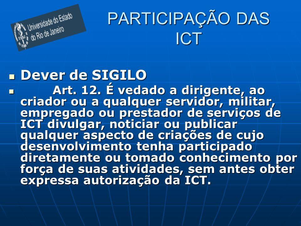 PARTICIPAÇÃO DAS ICT Dever de SIGILO Dever de SIGILO Art. 12. É vedado a dirigente, ao criador ou a qualquer servidor, militar, empregado ou prestador