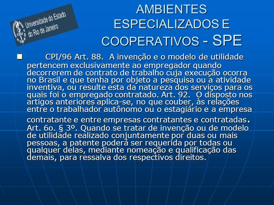 AMBIENTES ESPECIALIZADOS E COOPERATIVOS - SPE CPI/96 Art. 88. A invenção e o modelo de utilidade pertencem exclusivamente ao empregador quando decorre