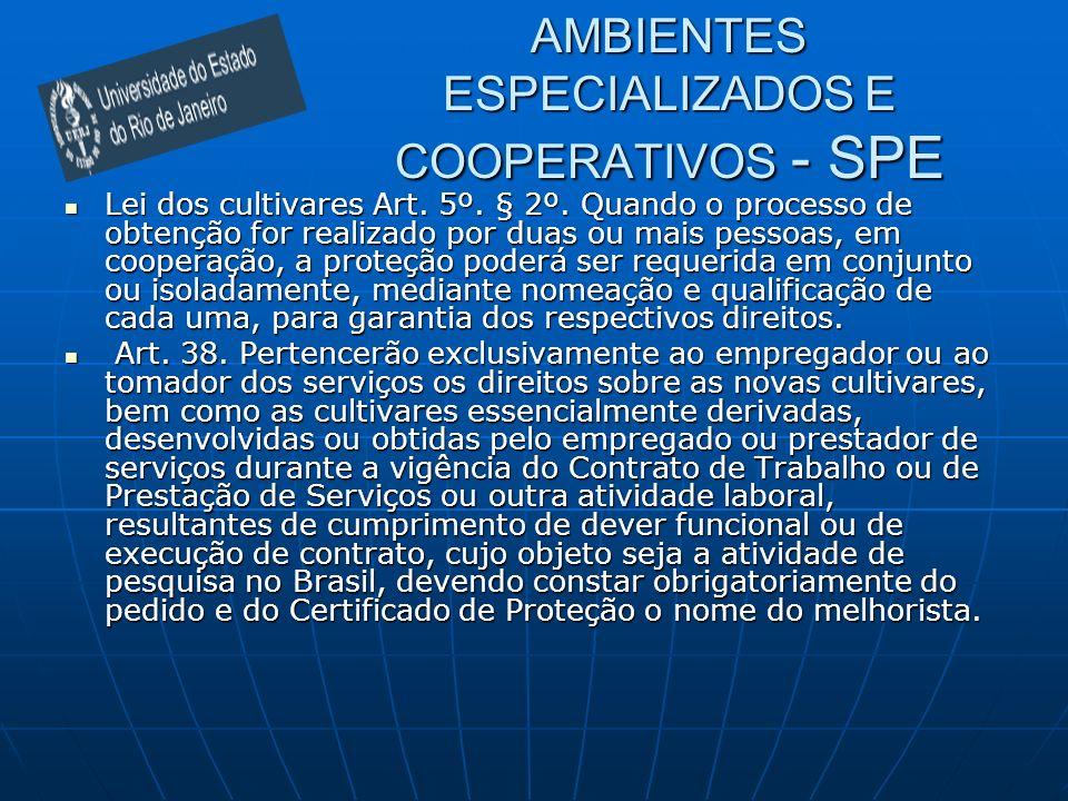 AMBIENTES ESPECIALIZADOS E COOPERATIVOS - SPE Lei dos cultivares Art. 5º. § 2º. Quando o processo de obtenção for realizado por duas ou mais pessoas,