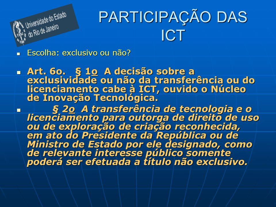 PARTICIPAÇÃO DAS ICT Escolha: exclusivo ou não? Escolha: exclusivo ou não? Art. 6o. § 1o A decisão sobre a exclusividade ou não da transferência ou do