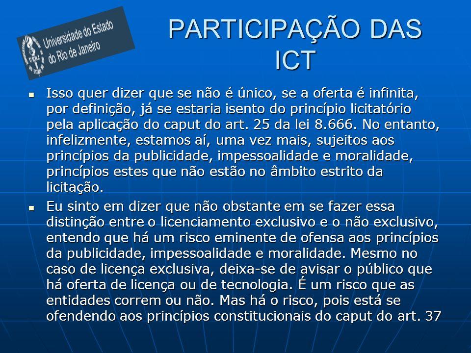 PARTICIPAÇÃO DAS ICT Isso quer dizer que se não é único, se a oferta é infinita, por definição, já se estaria isento do princípio licitatório pela apl