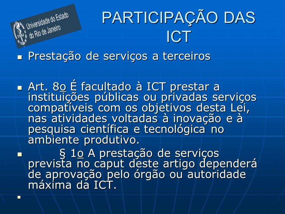 PARTICIPAÇÃO DAS ICT Prestação de serviços a terceiros Prestação de serviços a terceiros Art. 8o É facultado à ICT prestar a instituições públicas ou